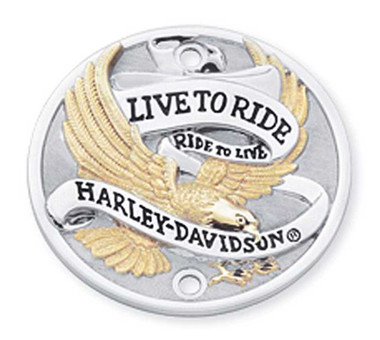 Harley-Davidson Live to Ride Gold Timer Cover, Fits w/ Vertical Holes 32585-90T - Wisconsin Harley-Davidson