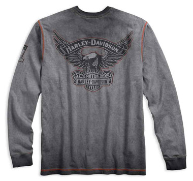 Harley-Davidson Men's Iron Block Distressed Long Sleeve Tee, Gray 99010-17VM - Wisconsin Harley-Davidson