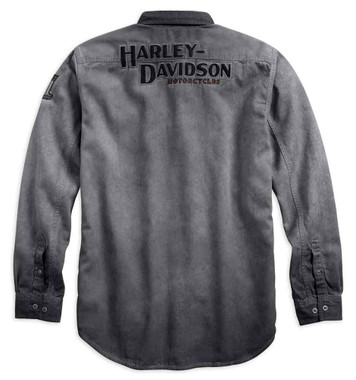 Harley-Davidson Men's Iron Block Long Sleeve Woven Shirt, Gray 99020-17VM - Wisconsin Harley-Davidson
