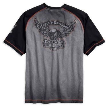 Harley-Davidson Men's Iron Block Raglan Short Sleeve Tee, Gray 99011-17VM - Wisconsin Harley-Davidson