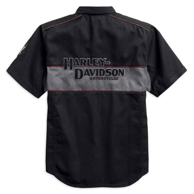 Harley-Davidson Men's Iron Block Short Sleeve Woven Shirt, Black 99018-17VM - Wisconsin Harley-Davidson