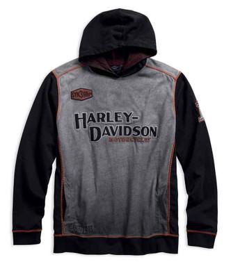 Harley-Davidson Men's Iron Block Distressed Pullover Hoodie, Black 99001-17VM - Wisconsin Harley-Davidson
