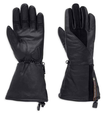 Harley-Davidson Women's Gage Leather Gauntlet Gloves, Black 98354-17VW - Wisconsin Harley-Davidson