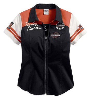 Harley-Davidson Women's Classic Colorblocked Zip Front Shirt 99170-17VW - Wisconsin Harley-Davidson