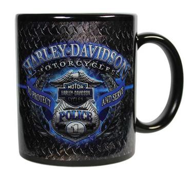Harley-Davidson Police Original Ceramic Coffee Mug, 11 oz. Black CM126389 - Wisconsin Harley-Davidson