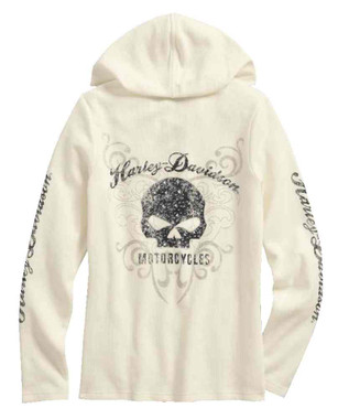 Harley-Davidson Women's Scroll Skull Hooded Henley, Off White 99131-17VW - Wisconsin Harley-Davidson