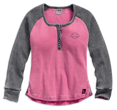 Harley-Davidson Women's Pink Label Waffle Knit Henley, Hot Pink 99145-17VW - Wisconsin Harley-Davidson
