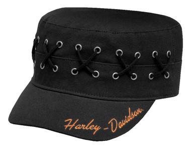 Harley-Davidson Women's Laced & Eyelet Flat Top Cap, Adjustable Black 99567-17VW - Wisconsin Harley-Davidson