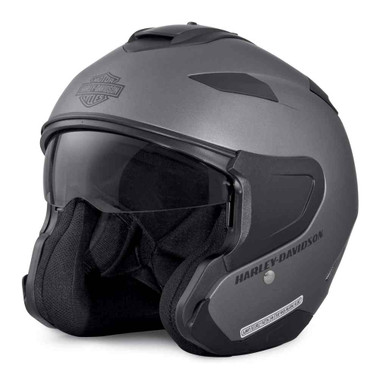 Harley-Davidson Men's Interchangeable Sun Shield 3/4 Helmet, Silver 98304-17VX - Wisconsin Harley-Davidson