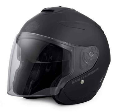 Harley-Davidson Men's Interchangeable Sun Shield 3/4 Helmet, Black 98303-17VX - Wisconsin Harley-Davidson