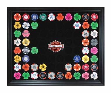 Harley-Davidson Bar & Shield Chip Collector's Frame, Holds 76 Poker Chips 6976 - Wisconsin Harley-Davidson