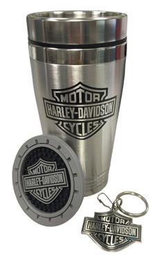 Harley-Davidson Bar & Shield Auto Travel Set, Travel Mug, Key Chain & Coaster - Wisconsin Harley-Davidson