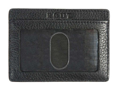 ROUT Voyager Embossed Front Pocket Wallet, Full Grain Black Leather RC10597 - Wisconsin Harley-Davidson