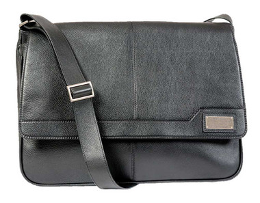 ROUT Competitor Leather Messenger Bag, Padded Laptop Sleeve, Black RBN25440 - Wisconsin Harley-Davidson