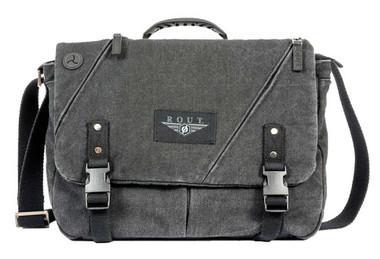 ROUT Voyager Messenger Bag, Washed Black Cotton Canvas & Leather Trim RC10525 - Wisconsin Harley-Davidson