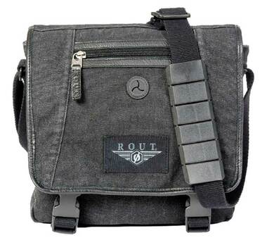 ROUT Voyager Vertical Messenger Bag, Washed Black Cotton Canvas RC10539 - Wisconsin Harley-Davidson