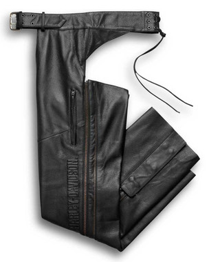Harley-Davidson Men's Deluxe Midweight Leather Chaps, Black 98100-16VM - Wisconsin Harley-Davidson