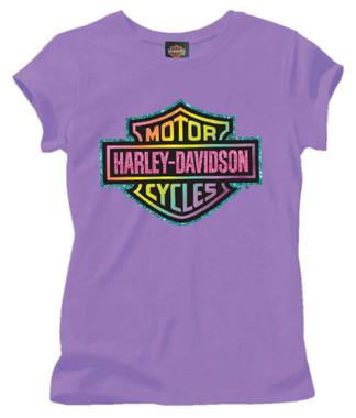 Harley-Davidson Big Girls' Glittery Rainbow B&S Short Sleeve Tee, Purple 1540659 - Wisconsin Harley-Davidson