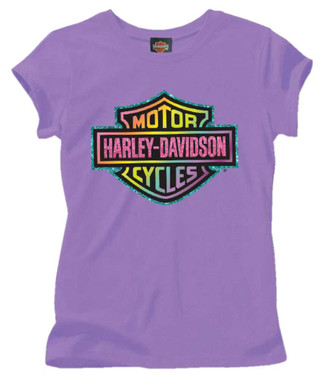 Harley-Davidson Big Girls' Glittery Rainbow B&S Short Sleeve Tee, Purple 1540659 - Wisconsin Harley-Davidson