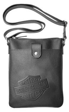 Harley-Davidson Women's B&S Embossed Vertical Crossbody Purse ZWL4703-BLACK - Wisconsin Harley-Davidson