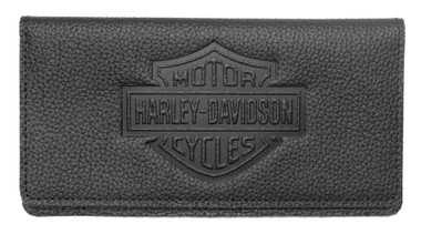 Harley-Davidson Womens B&S Embossed Checkbook Cover, Black Leather ZWL4752-BLACK - Wisconsin Harley-Davidson