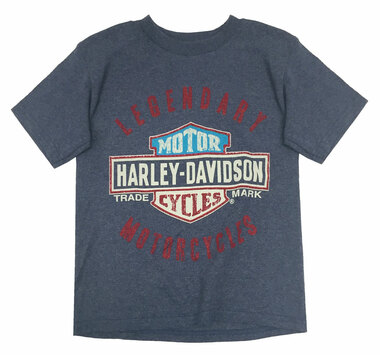 Harley-Davidson Little Boys' Legendary Short Sleeve Tee, Denim Heather 1580685 - Wisconsin Harley-Davidson