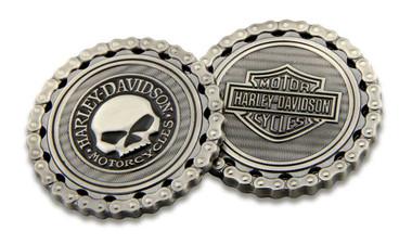 Harley-Davidson Skull / Bar & Shield Chain Challenge Coin, 1.75 inch 8005184 - Wisconsin Harley-Davidson