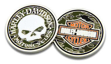 Harley-Davidson Willie G Skull Bar & Shield Camo Challenge Coin, 1.75 in 8005085 - Wisconsin Harley-Davidson