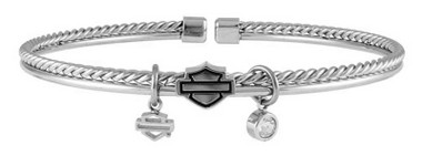 Harley-Davidson Women's B&S Braided Double Bangle, Silver Tone HSB0135-7 - Wisconsin Harley-Davidson