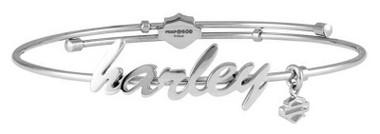 Harley-Davidson Women's Cursive Harley Bangle Bracelet, Stainless Steel HSB0133 - Wisconsin Harley-Davidson
