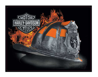 Harley-Davidson Embossed Firefighter Helmet Tin Sign, 17 x 13 inches 2011251 - Wisconsin Harley-Davidson