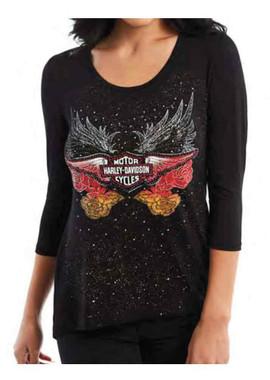 Harley-Davidson Women's Embellished Rosas Lace Trim 3/4 Sleeve Shirt, Black - Wisconsin Harley-Davidson