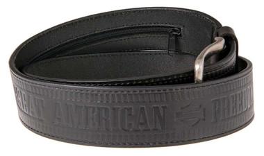 Harley-Davidson Men's Zipper Money Belt Genuine Leather Belt HDMBT11190-BLK - Wisconsin Harley-Davidson