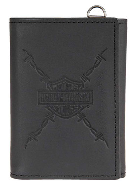 Harley-Davidson Men's Danger Zone Tri-Fold Genuine Leather Wallet HDMWA11213-BLK - Wisconsin Harley-Davidson