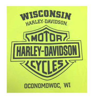 Harley-Davidson Men's Customary Bar & Shield Chest Pocket Tee, Safety Green - Wisconsin Harley-Davidson