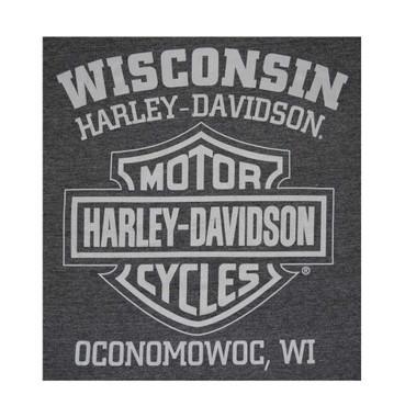 Harley-Davidson Men's Winged Skull Engine Short Sleeve T-Shirt, Charcoal Gray - Wisconsin Harley-Davidson