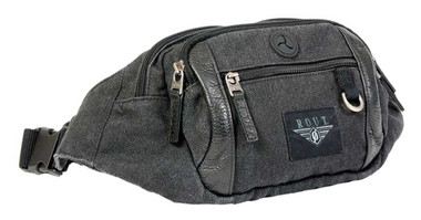 ROUT Voyager Waistpack, Washed Black Cotton Canvas & Leather Trim RC10576 - Wisconsin Harley-Davidson
