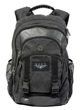 ROUT Voyager Day Backpack, Washed Cotton Canvas & Leather Trim, Black RC10553 - Wisconsin Harley-Davidson