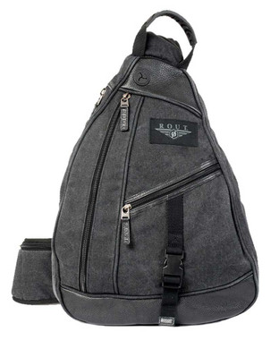 ROUT Voyager Sling Backpack, Washed Cotton Canvas & Leather Trim, Black RC10561 - Wisconsin Harley-Davidson