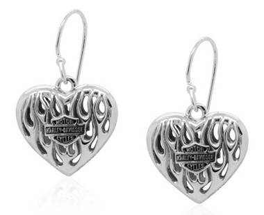 Harley-Davidson Womens Flames Bar & Shield Heart Dangle Earrings, Silver HDE0423 - Wisconsin Harley-Davidson