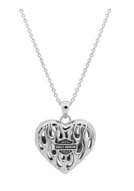Harley-Davidson Women's Flames Bar & Shield Heart Necklace, Silver HDN0355 - Wisconsin Harley-Davidson