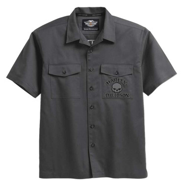Harley-Davidson Men's Willie G Skull Short Sleeve Garage Shirt, Gray 99028-17VM - Wisconsin Harley-Davidson