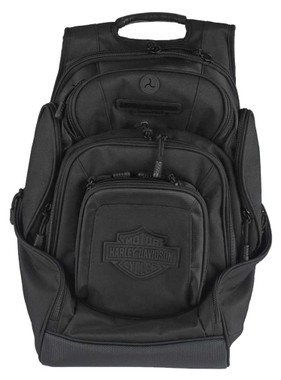 Harley-Davidson Sculpted Bar & Shield Deluxe Backpack, Black BP2000S-BLKBLK - Wisconsin Harley-Davidson