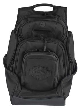 Harley-Davidson Sculpted Bar & Shield Deluxe Backpack, Black BP2000S-BLKBLK - Wisconsin Harley-Davidson