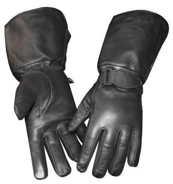 Redline Men's Gauntlet Fleece Gator Lining Leather Gloves, Black G-053GS - Wisconsin Harley-Davidson