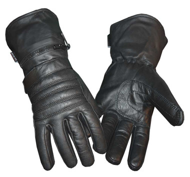 Redline Men's Winter Gauntlet Thinsulate Leather Gloves w/ Rain Cover G-051 - Wisconsin Harley-Davidson