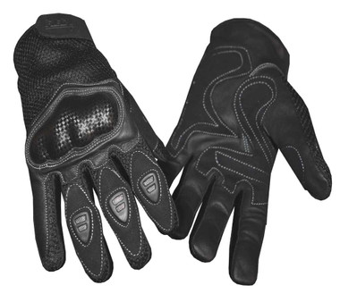 Redline Men's Vented Sports Full-Finger Gloves w/ Hard Kevlar, Black G-068 - Wisconsin Harley-Davidson