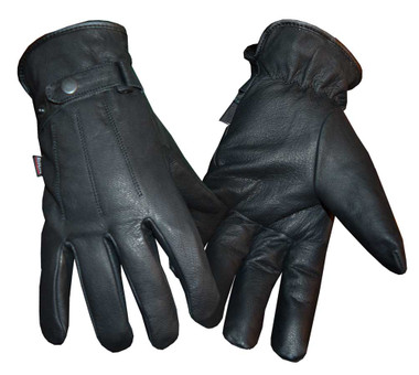 Redline Men's Soft Fleece Gator Lining Full-Finger Leather Gloves, Black G-052GS - Wisconsin Harley-Davidson