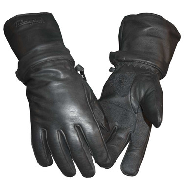 Redline Men's Zip-Off Cuff Full-Finger Fleece Lining Leather Gloves, Black G-054 - Wisconsin Harley-Davidson