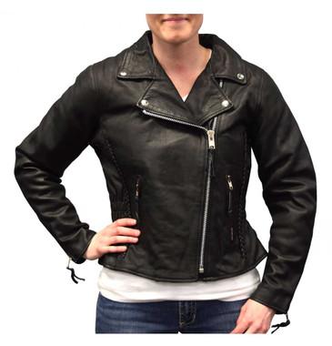 Redline Women's Mid-Weight Goat Leather Motorcycle Jacket, Black L-3150 - Wisconsin Harley-Davidson